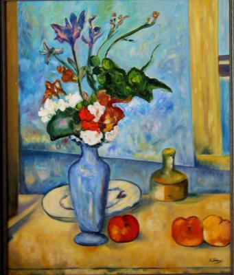 El jarrón azul Paul Cezanne