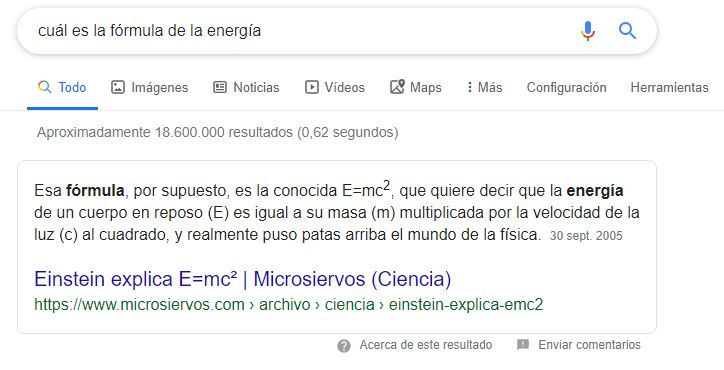 featured snippet ejemplo