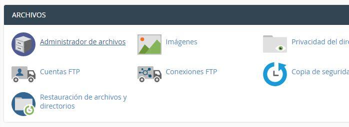 Vista de cPanel para acceder al Administrador de archivos