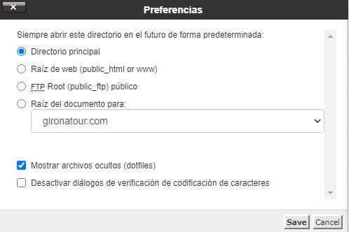 Configuración en el Administrador de archivos para mostrar archivos ocultos